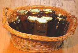 Shopping basket of organic honey France